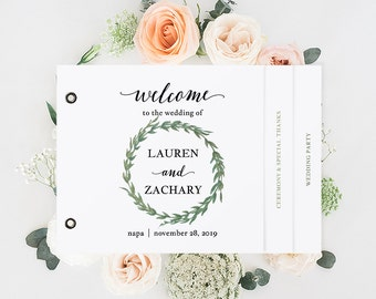 Booklet Wedding Program Template, Printable Wedding Program, Ceremony Printable, Instant Download, Editable PDF watercolor wreath #SPP032prb