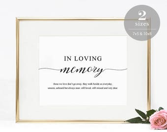 In Loving Memory Sign Template, Printable In Memory Sign, Wedding Sign, Memorial Table Sign, Editable PDF, Instant Download #SPP007lm