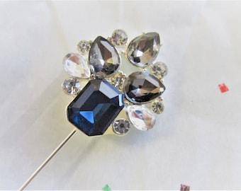 Blue Gray Silver Crystal Hijab Hat Pin