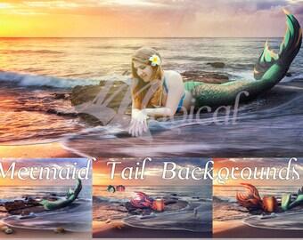 Mermaid Tails Background | Mermaid Background | Mermaid Backdrop | Ocean Backdrop | Ocean Background | Fantasy Background | Mermaid Tails