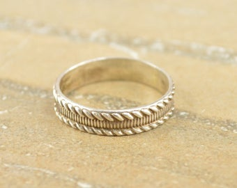 Textured Rope Banded Pattern Band Ring Size 11 Sterling Silver 3.5g Vintage Estate