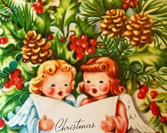 Antique Christmas Card Angels Singing on Art Guild of Williamsburg Embossed Vintage Card Original Envelope 1951 Postmarked 2 Cent Stamp
