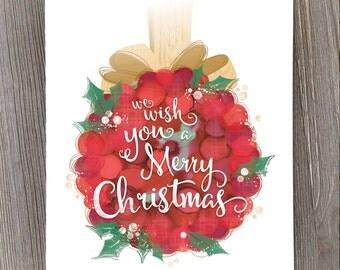 Christmas art, holiday print, christmas wall art, we wish you a Merry Christmas