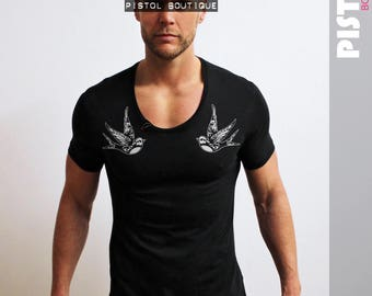 "Pistol Boutique Mens ""CHEST TATTOO SWALLOWS"" Black Scoop neck fashion Tshirt"