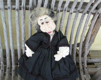 ship free Made entirely by hand old women doll  13 inches tall