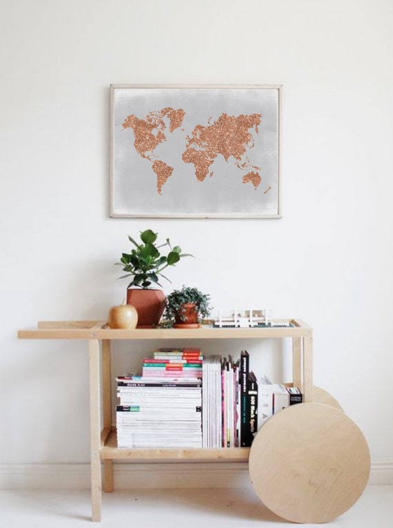Copper wall art rose gold world map poster grey and copper for Mesa camarera ikea