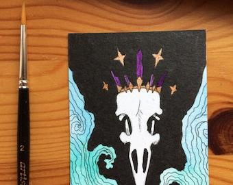 Dead King - original cocoa card / ACEO card