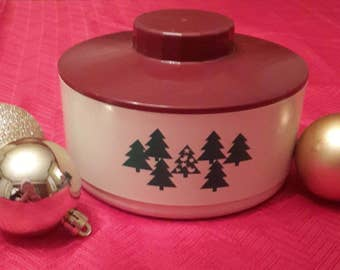 Vintage Tupperware Christmas Candy cookie bowl dish christmas tree