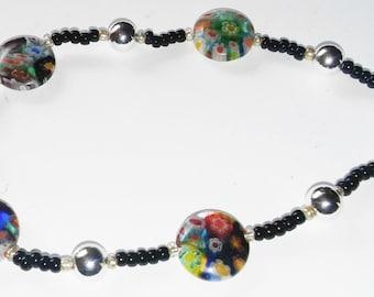 Round Imprinted flower Beaded Bracelet, Handmade