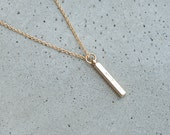 Petite and Dainty 4 sided, vertical bar necklace - Gold, Silver & Rose Gold