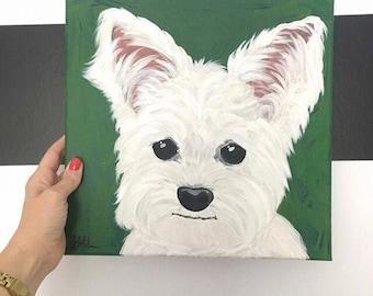 Custom Dog portrait acrylic painting on canvas