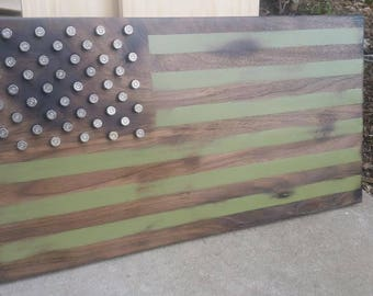 Olive Drab Wooden American Flag