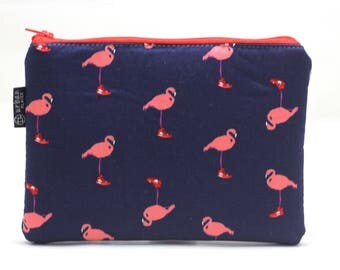 Flamingo makeup bag, flamingo stationery bag, cosmetic organizer, travel organizer, zipper bag, stationery bag, make-up pouch, pencil pouch