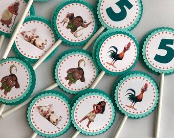 Moana Cupcake Toppers / Moana Centerpieces/Moana Cake Toppers/ Moana birthday/ Moana Party Decor