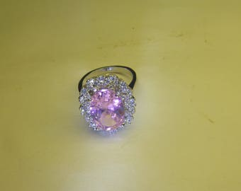 Women's Pink Sapphire ring. new. 925 silver. size 7.