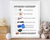 Morning checklist | personalized printable morning checklist for superhero boys