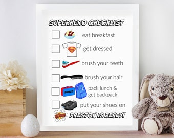 Morning checklist | personalized printable morning checklist for superhero boys