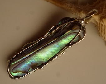 Pendant with abalone 50mm, paua shell pendant - pendant silver