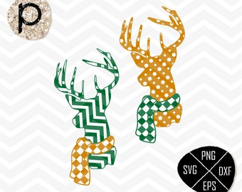 Christmas Patterned Antlers Deer Head with Scarf SVG*Shirt Decal*Deer svg,clipart,eps,dxf,png,jpg*Cutting Files*Cricut*Silhouette*Sure Cuts