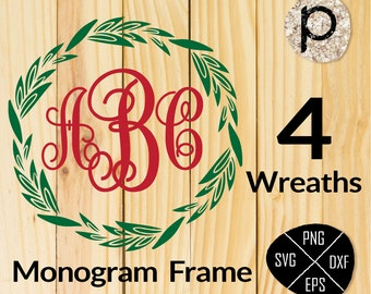 Wreath SVG*Leaf wreath svg*laurel wreaths clipart*leaf circle monogram frame SVG*svg,dxf,eps,png*Cutting File*Cricut*Silhouette*Sure Cut