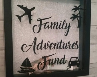 Money box frame, adventure fund, holiday fund, money box