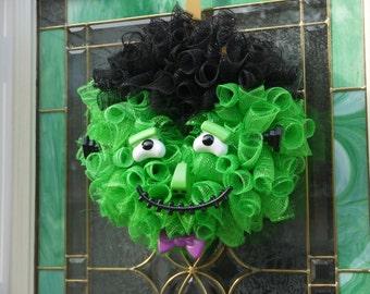 Frankenstein Monster Halloween wreath