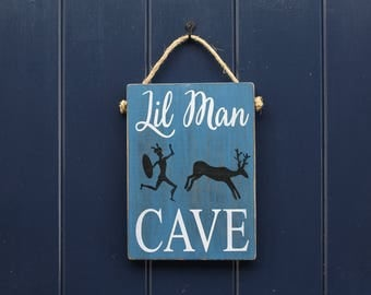 Lil Man Cave Sign, Home Decor, Wall Hanging, Door Hanging, Son Gift, Baby Shower Gift, Child's Room, Rustic Sign, Wooden Sign, Kid's Room