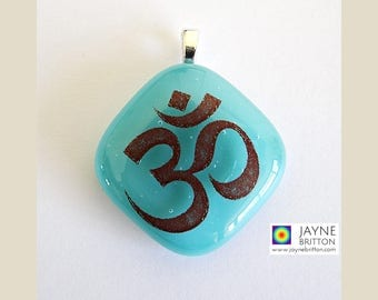 Om symbol pendant, gift for Yoga teachers, turquoise jewellery, fused glass, Throat chakra, spiritual, yoga jewelry, meditation necklace