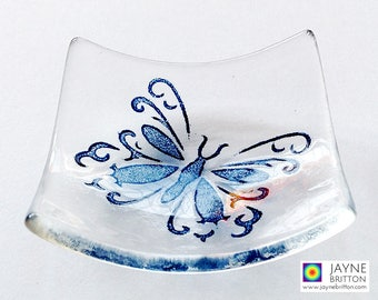 Butterfly bowl, fused glass image, clear and blue glass, symbol of transformation, symbol of change, unusual wedding favour, party favor