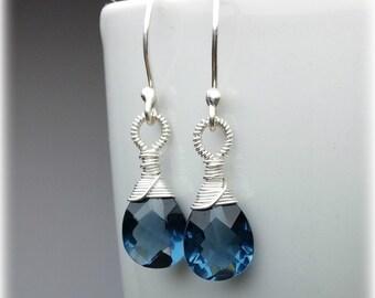 Blue Quartz Earrings, Dangle Earrings, Sterling Silver Wedding Earrings, Bridal Earrings, Gemstone Earrings, Blue Crystal Earrings, Gift Mom
