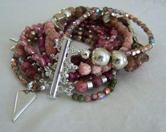 MULTI STRAND BRACELET ... shades of rose and pink