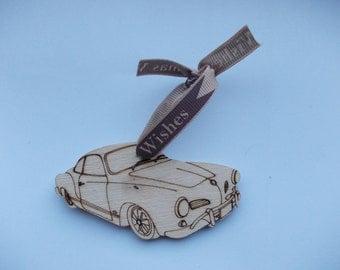 Karmann Ghia - Xmas Dec (Medium) Etched detail wooden