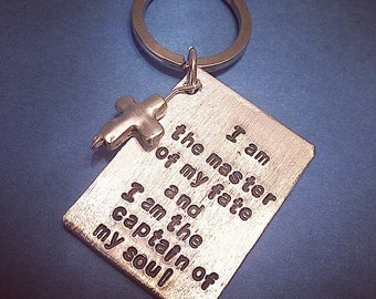 Personalized Keychain handstamped, keychain with initials