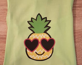 Pineapple Doggie Tank - Lime Green Tank Top - Dog Tank Top - Dog Clothing - Dog T'shirt- Summer Dog Clothes - Cute Dog Shirt