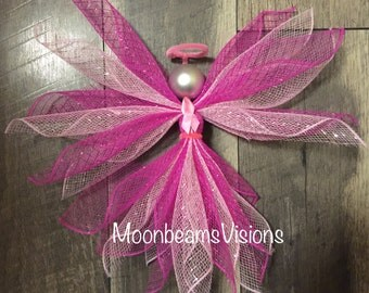 Breast Cancer Angel, Breast Cancer awareness, Angel decor, deco mesh angel, breast cancer awareness angel, breast cancer decor,