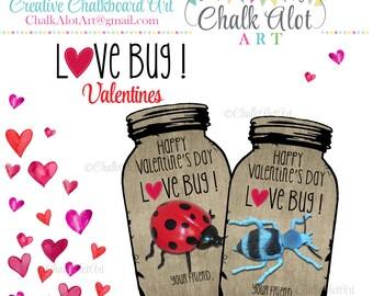 Love Bug Valentines, Love Bug Valentine Favors, Valentine's Day. Bug Valentines - Instant Download