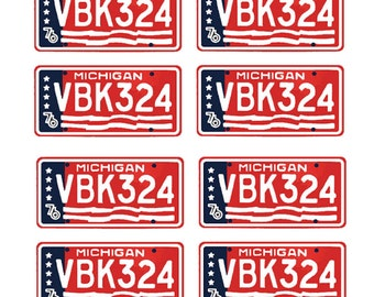 scale model Cannonball Run car license tag plates