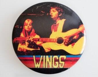 """Paul McCartney & Wings - 2.5"""" Vintage 1970s Pin Back Badge"""