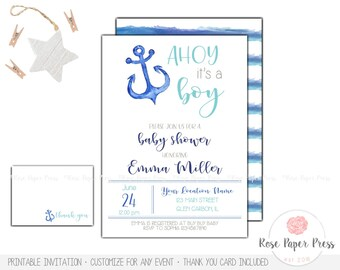 Nautical Baby Shower Invitation Set | Custom Printable Invitation | Ahoy It's a Boy | Anchor Baby Shower | Thank You Card