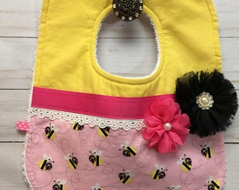 Happy Busy Busy Bees Baby Girl Bib