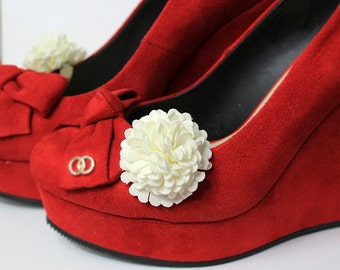 ivory flower shoe clip/for/purse ivory wedding shoe clip flower accessory decoration bridesmaid gifts women bag clip women accessory G1