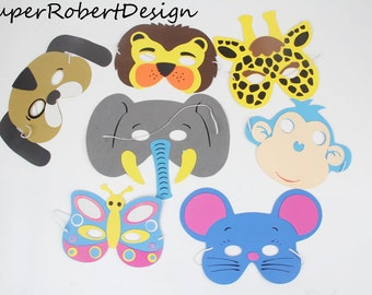 Set of 7, zoo animal masks / foam animal masks / random animal masks / safari animal party/ zoo party