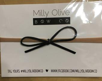 Black Pixie Bow on soft Nylon headband