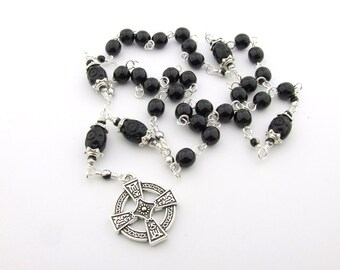Anglican Rosary - Jet Black Czech Glass Anglican Prayer Beads - Protestant Prayer Beads - Men's rosary beads - Christian Gift
