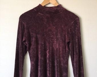 Vintage Pink & Black Floral Long Sleeve Mock Neck Top Size Small/Medium, 90s Turtleneck