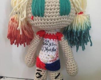 Harley quinn crochet doll
