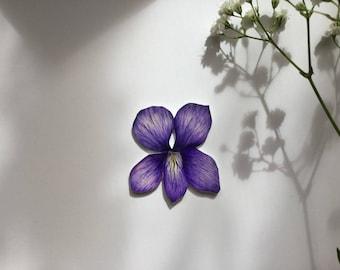 Floral hand drawn violet brooch