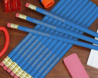 Personalized Engraved Blue School Pencils Custom Name Gift