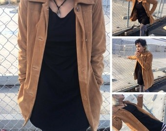 Suede 90s Vintage Light Brown Overcoat