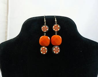 Earrings Orange, black and rust